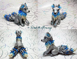 Silver and Blue Fantasy Wolf Alpha by SweetMayDreams