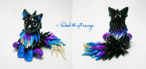 Black Blue and Purple Fantasy Wolf Pup