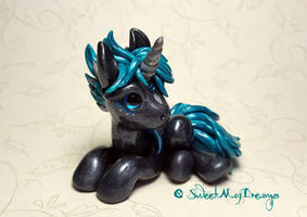 Black and Teal Unicorn Sculpture by SweetMayDreams
