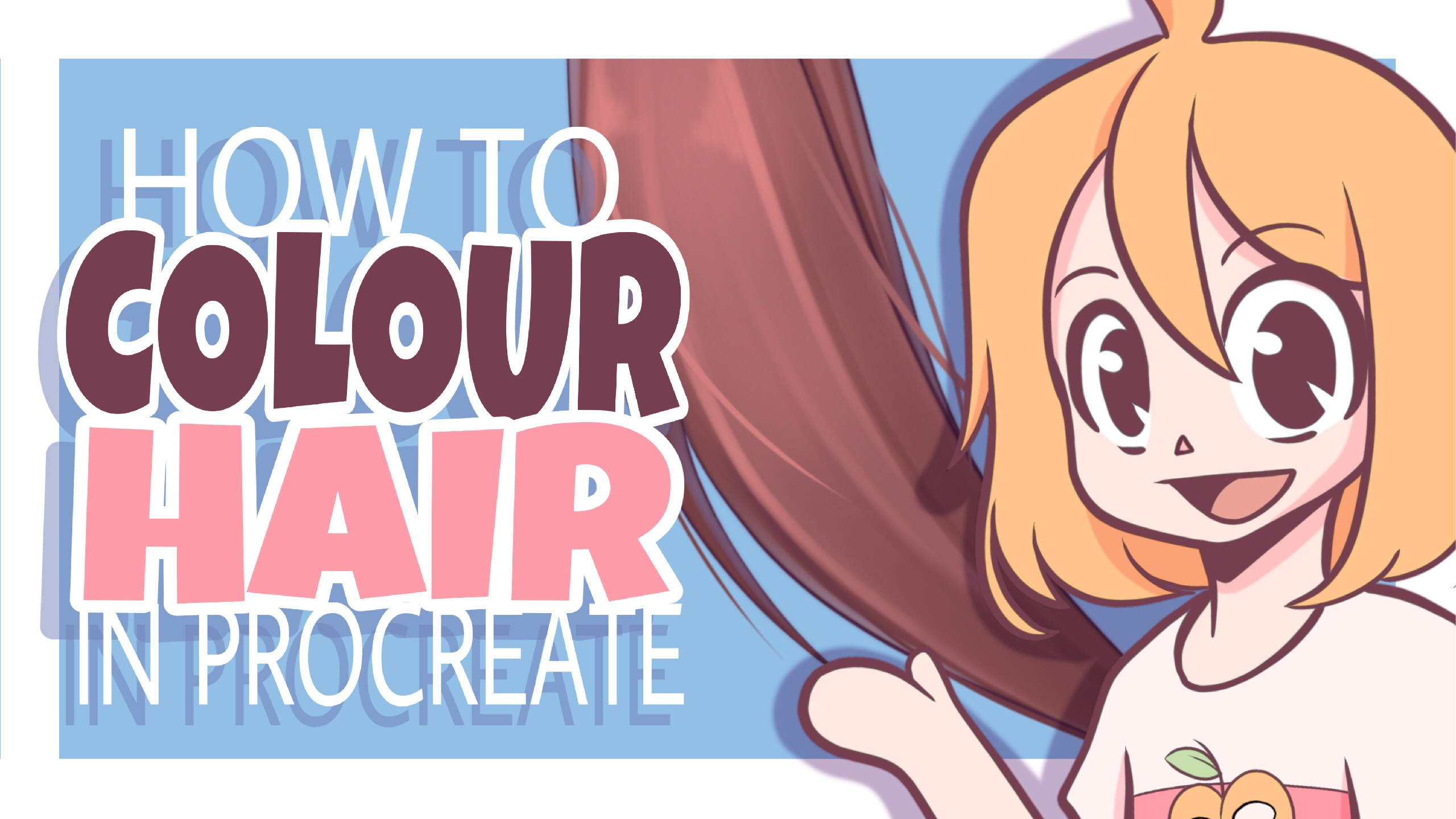 How to Colour HAIR in PROCREATE  iPad Pro Tutorial