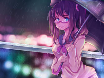 Anime Girl in the Rain   Manga on Procreate by HopelessPeaches