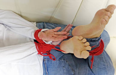 Tied Up Barefoot Ankles Crossed