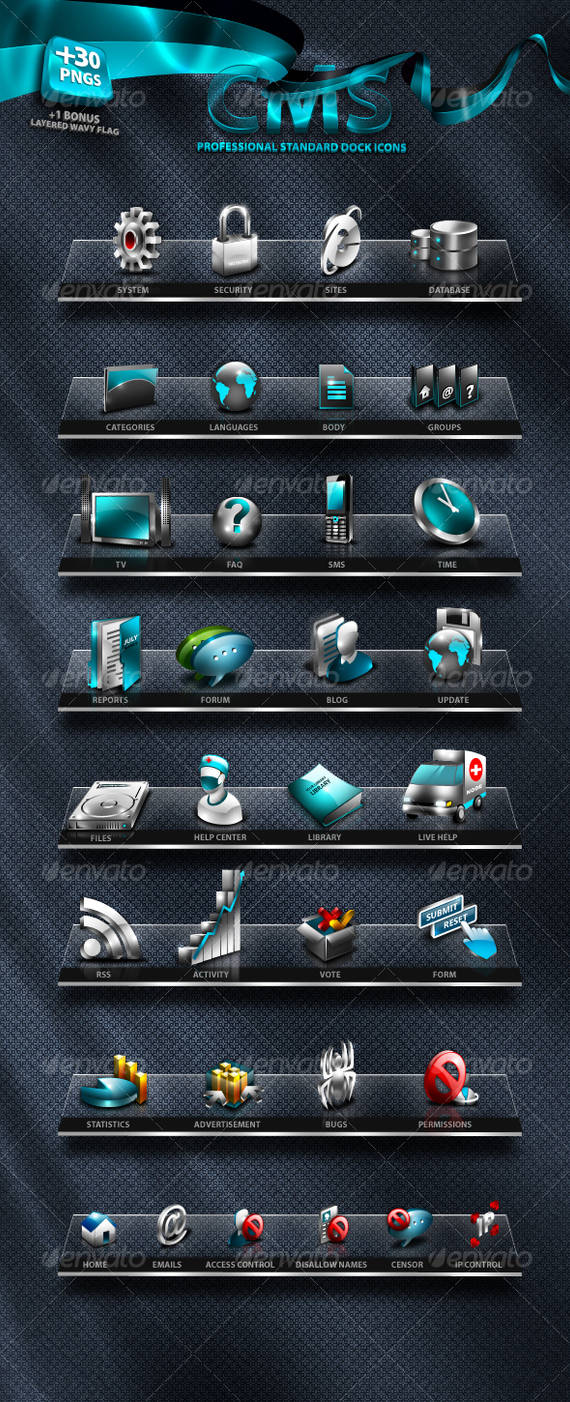 Unique CMS Icons Set by antialiasfactory