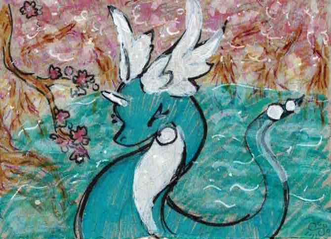 Dragonair In The Cherry Blossom Pond by goatsarecute