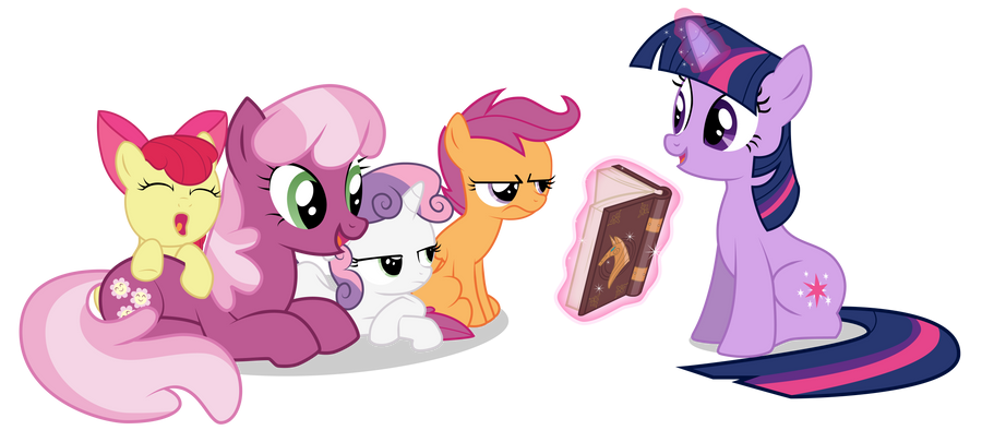 Twilight Reads to the CMC and Cheerilee by Vectorshy