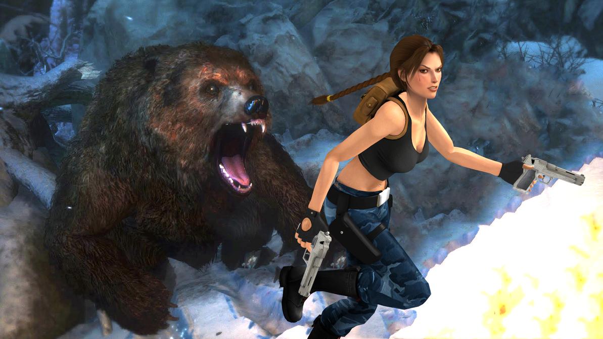 Lara Vs Bear by deangagaTR