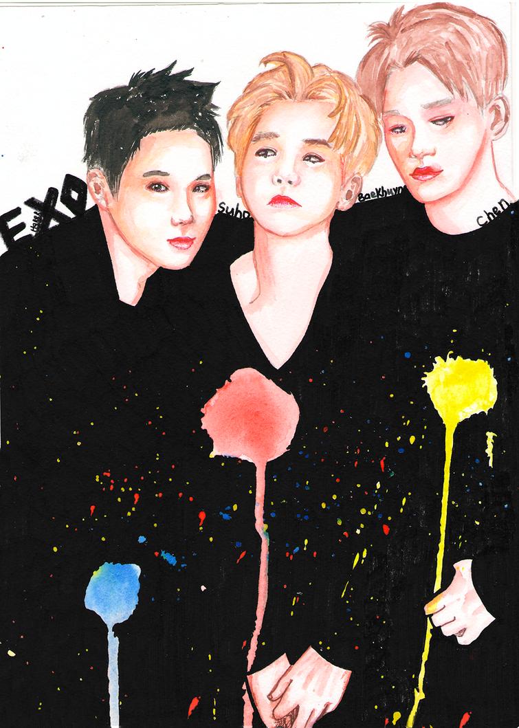 Exo's Suho, Baekhuyn and Chen by Hitori-Hareru