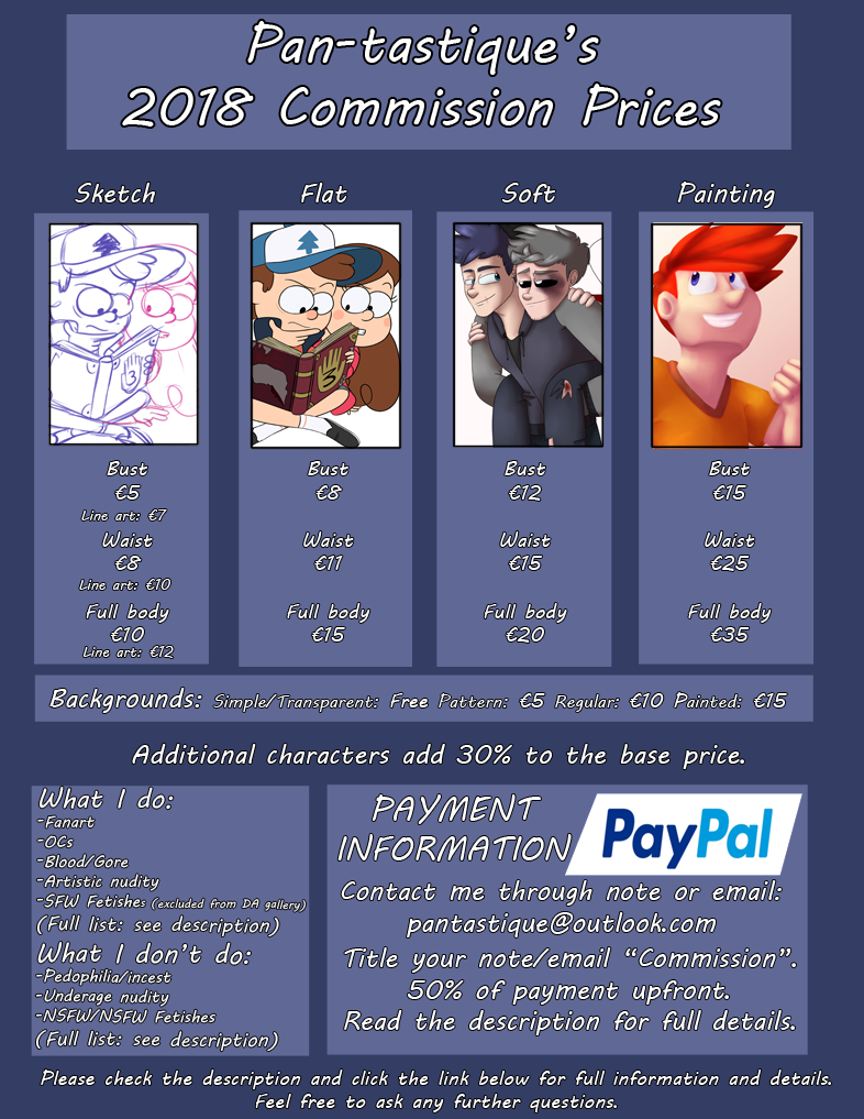 .:2018 Commission Prices:. (CLOSED)