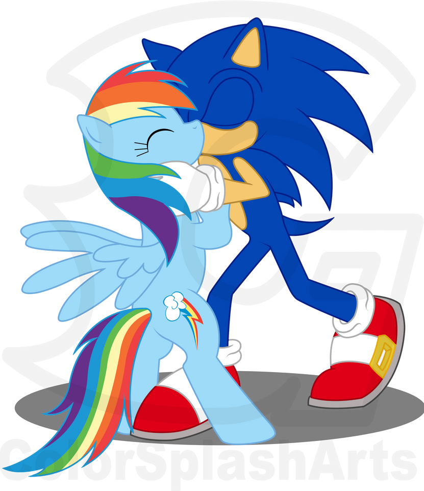 Rainbow Dash And Sonic Kiss