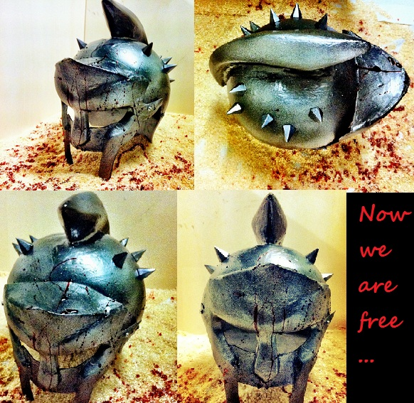 Now we're free....Plastic helmet made by me by TidusSurya