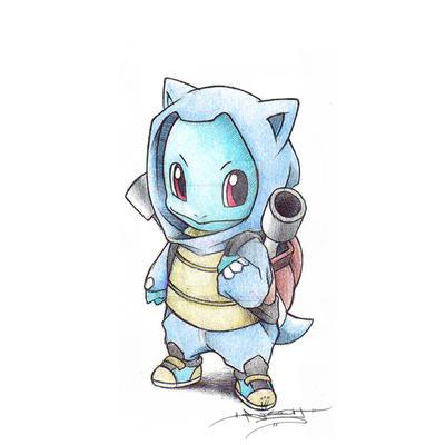 Squirtle wearing a Blastoise Hoodie by ItsBirdyArt