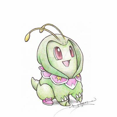 Chikorita wearing a Meganium Hoodie by ItsBirdyArt