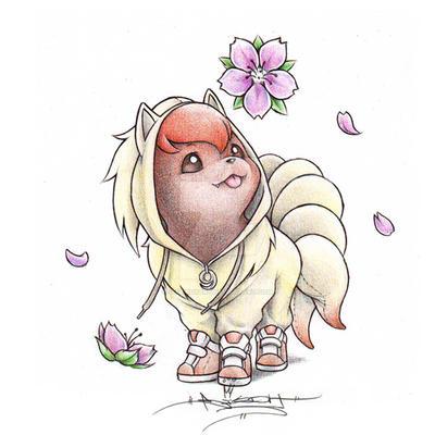 Vulpix wearing a Ninetails Onsie by ItsBirdyArt