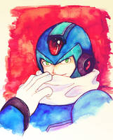 X with scarf in watercolor by Soul-Rokkuman
