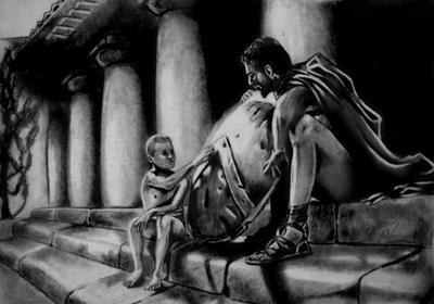300 Leonidas y su hijo by Andriks