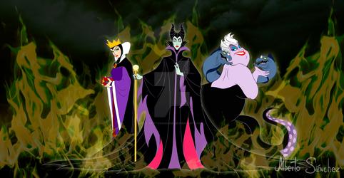 Evil Quenn, Maleficent and Ursula Disney Villains