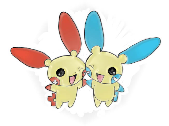 Chibi Plusle and Minun by Nightsangel666Plusle And Minun