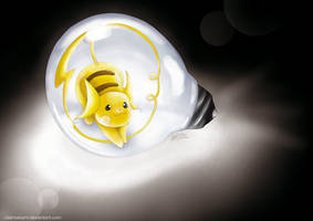 Raichu in Lightbulb by ClairaAkami