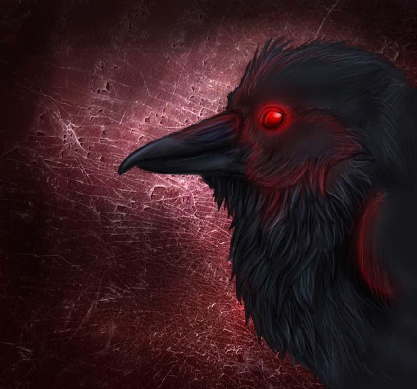 Evil raven bird