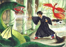 Harry VS the Basilisk by Alkanet
