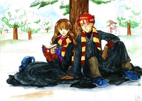 Hermione and Ron in the snow by Alkanet