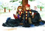 Hermione and Ron in the snow