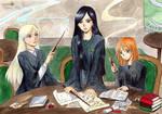 Daryena, Alienor and Dalia - Slytherin common room
