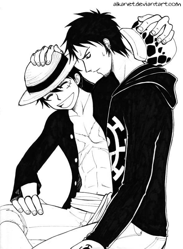 Luffy and Law by Alkanet