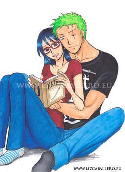 Zoro x Tashigi - reading together