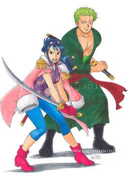 Zoro x Tashigi - Fighting side by side