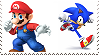 Mario and Sonic in Super Smash Bros Stamp by GameAndWill