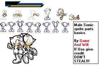 Male Sonic Sprites V.2 by GameAndWill