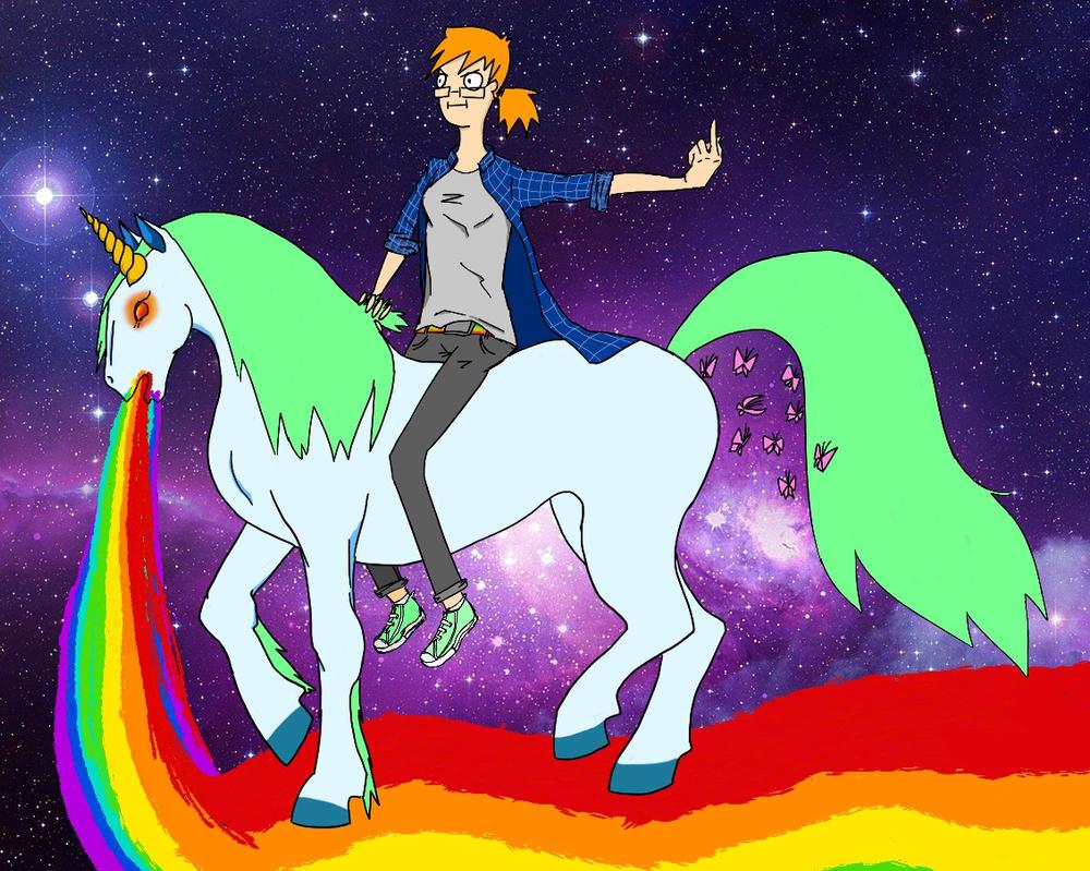 Author und the unicorn by AuntKo