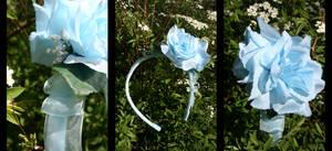 Commission: Aquamarine Rose Headband