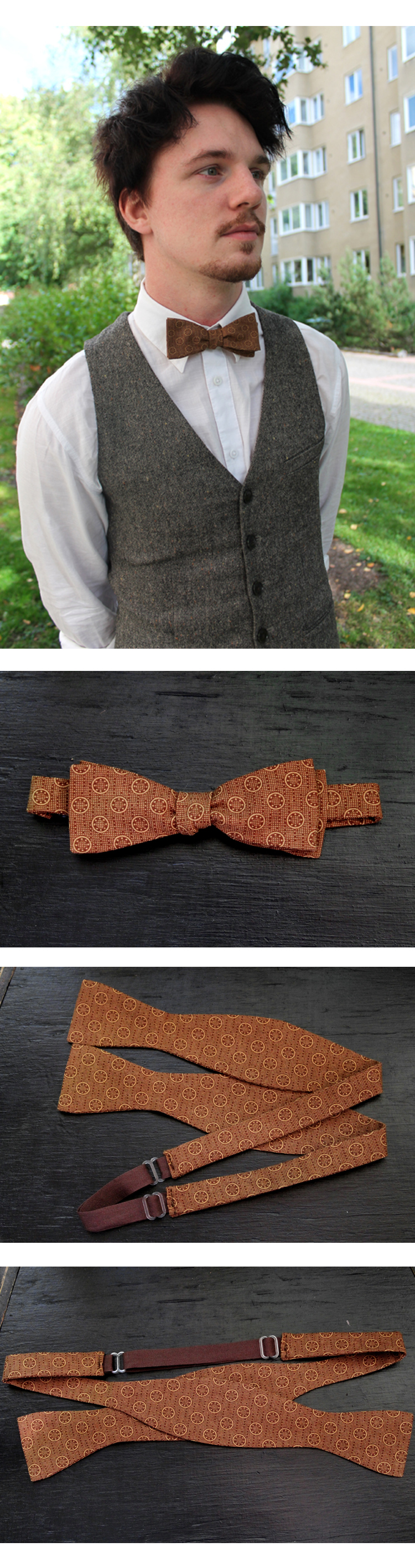 Standard Brown Dots and Circles Bow Tie