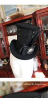 Gunmetal Damask Wonky Top Hat