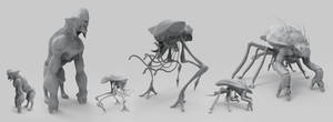 Alien Creature Speed Sculpts by Akiratang