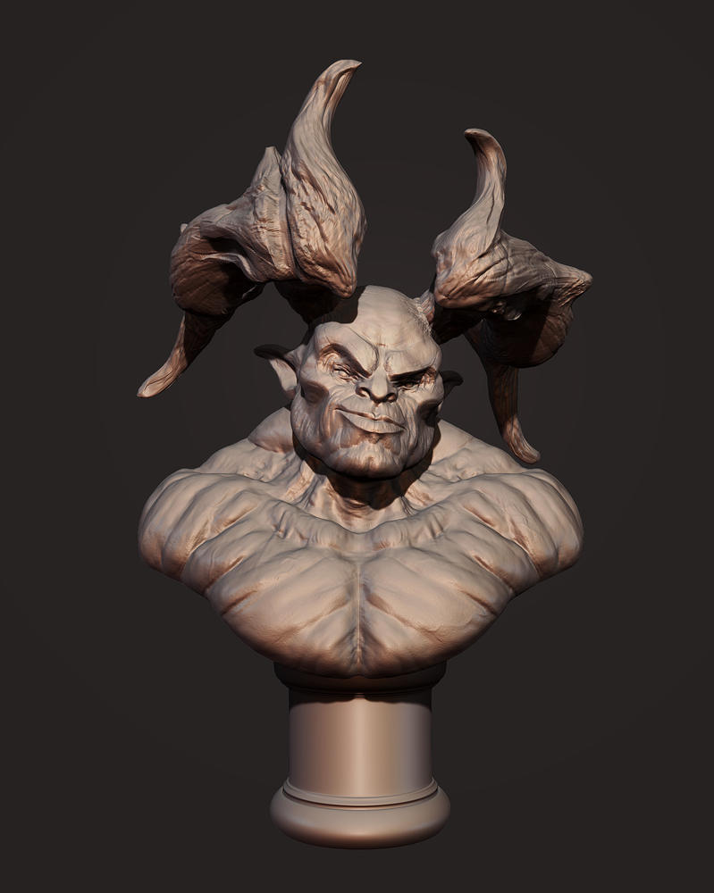 Demon Head Bust by Akiratang