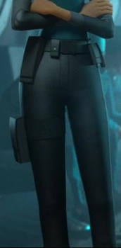 Marcy Kappel's black pants close up 2
