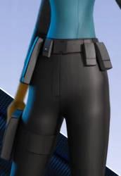 Marcy Kappel's black pants close up