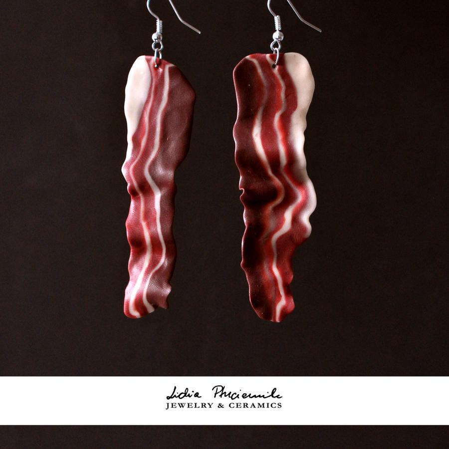 Bacon earrings by lidia-art