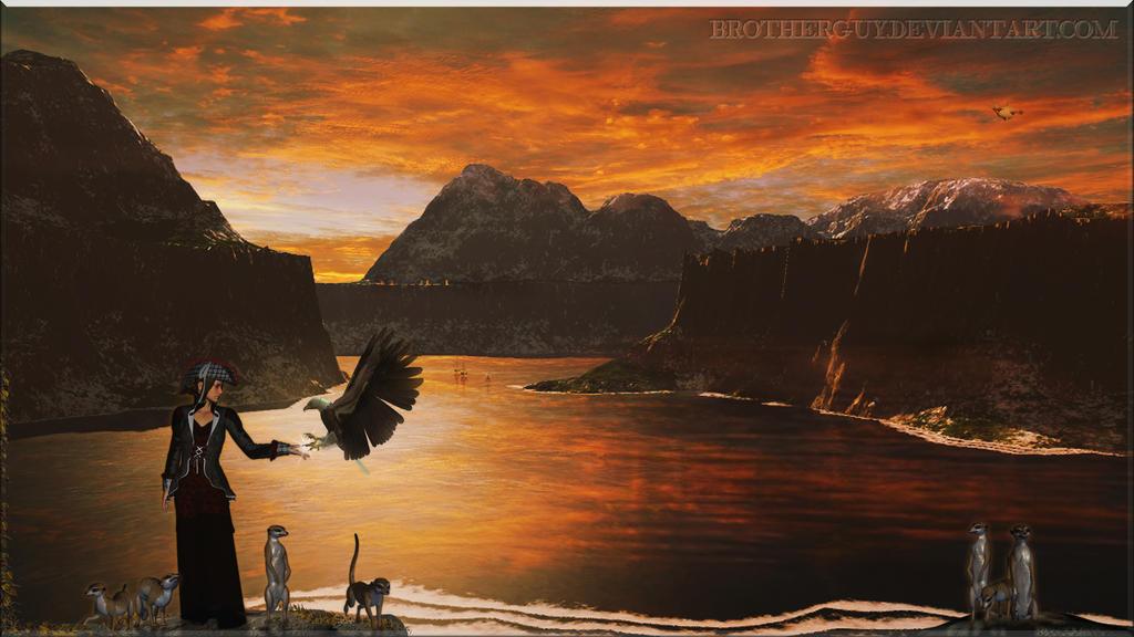 Nightfall at the lake by BrotherGuy