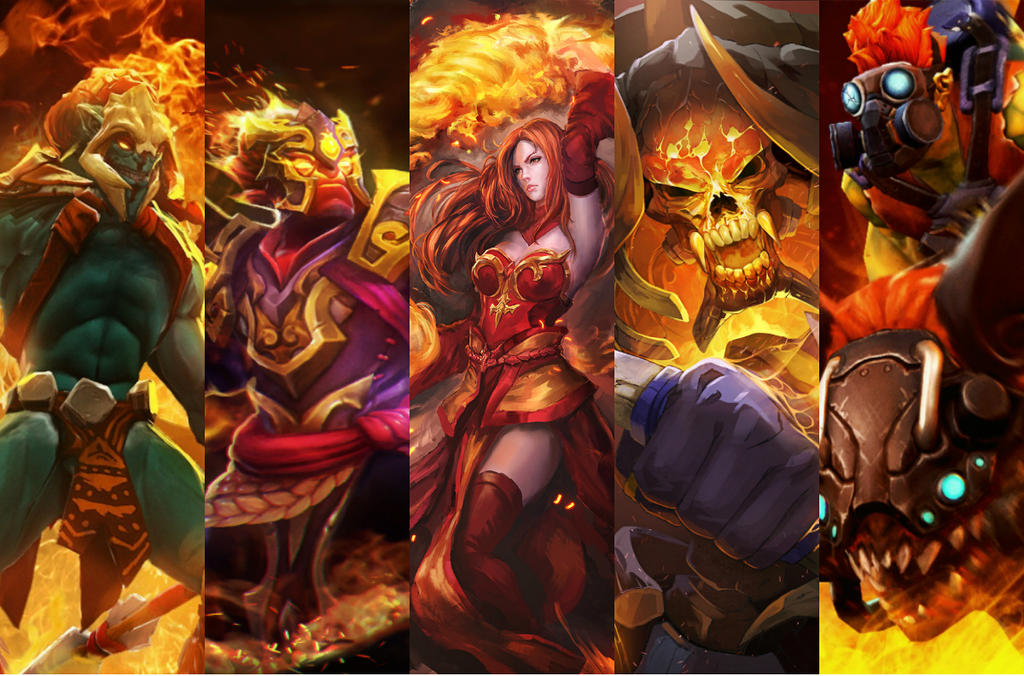 fire team dota 2 huskar ember lina clinkz batrider by