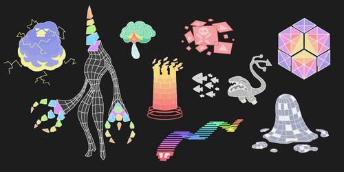 Creature doodles: cyberspace