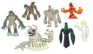Creature doodles: golems by JWNutz