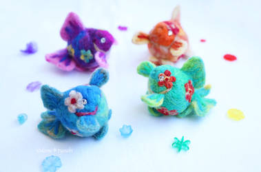 Flower Pearl scales needle felting wool colorful