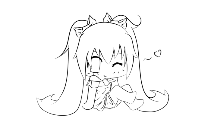 Vocaloid: chibi Miku lineart by peaky-strawberry on DeviantArt