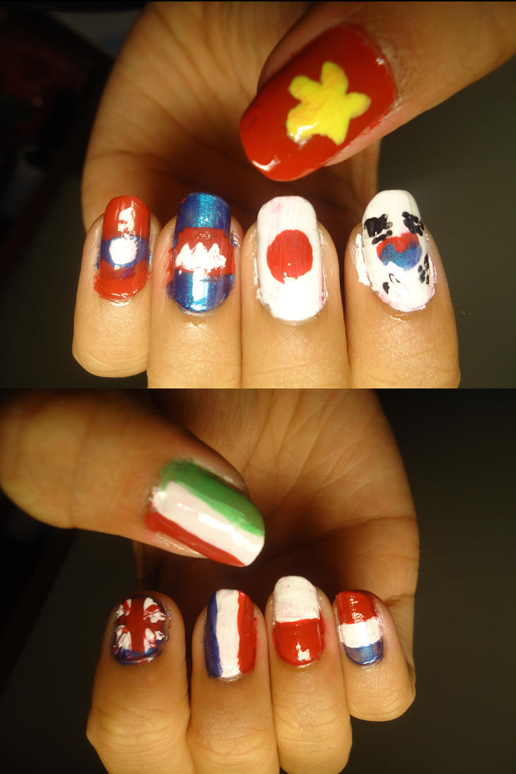 Asian and European Flags Nails by darknessprevails0 on DeviantArt