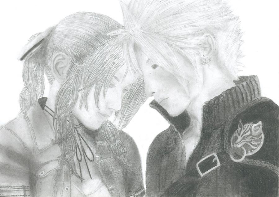 Cloud and Aerith by PrincessMar1e