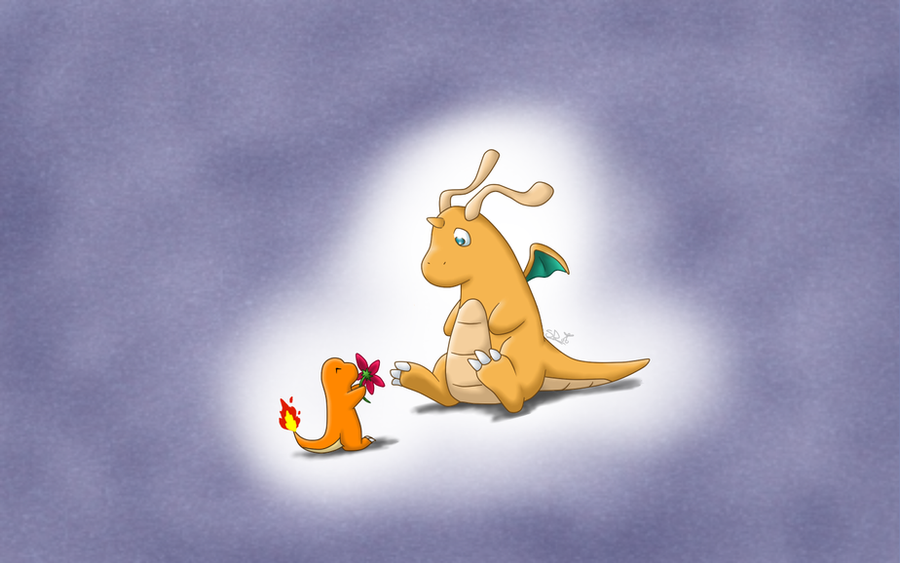 dragonite and charmander desktop background by vertwig on